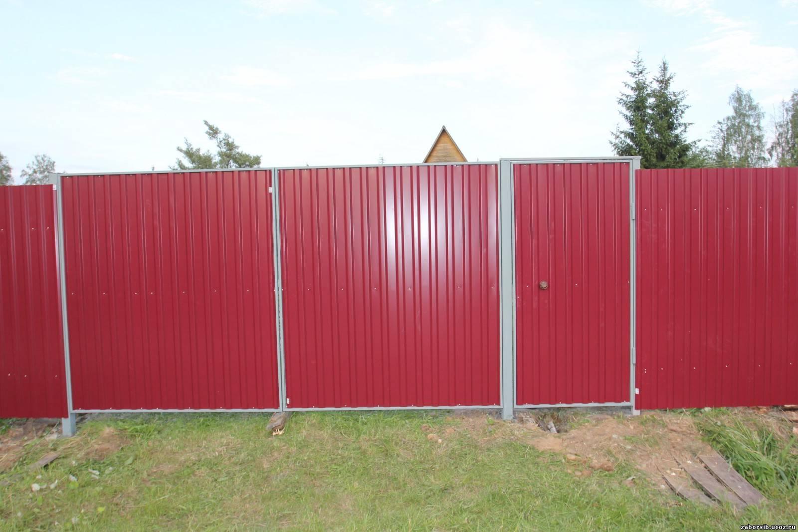 Фото из профнастила ворот ворота раздвижные в омске цена